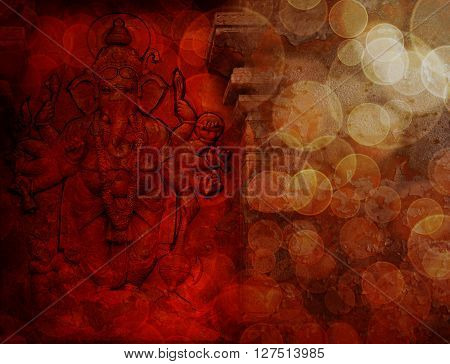 Hindu God Ganesh with Many Arms Carved Wall Relief on Exterior of Hindu Temple in Red Grunge Texture Background