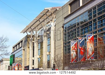 WASHINGTON DC, USA - MARCH 31: The Verizon Center in Washington DC on March 31, 2016. The building is a sport and entertainment arena in US capital serviced many notable events and charity initiatives.