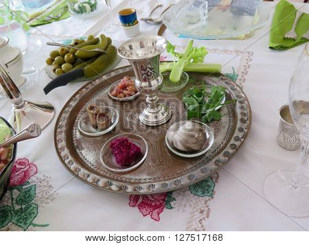 Jewish Holidays: Traditional Seder Plate for Passover Meal ** Note: Visible grain at 100%, best at smaller sizes