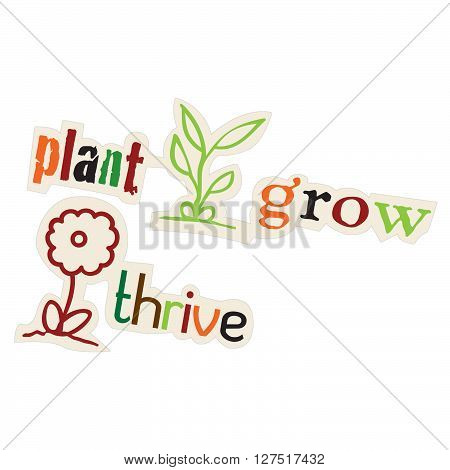 plant, grow, thrive leaf and flower illustration