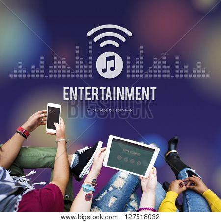 Entertainment Boardcasting Media Online Music Concept