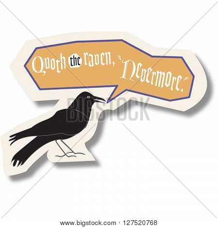 Raven with text bubble saying Quoth the Raven