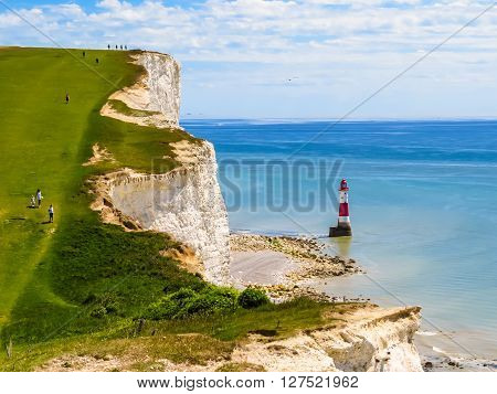 White chalk cliffs and aerial view of the Beachy Head Lighthouse Eastbourne East Sussex England