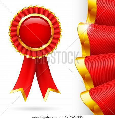 Shiny red award ribbon with golden edging. Fabric with highly detailed texture