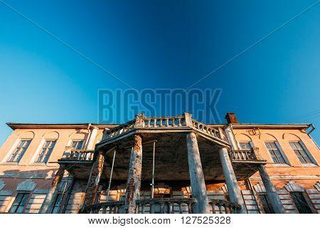 Khal'ch, Belarus - March 15, 2016: Palace manor of landowner Voynich-Senozhetskih Village Khal'ch in Vetka District, Belarus.