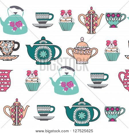 Vector Background of Tea Time Tea cups pots and Cupcake hand drawn .Pattern Collection with a tea pot tea cup jars cupcake In vintage style.