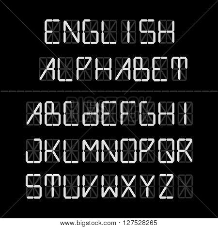 Digital font - English Alphabet. Vector set of letters. lettering collection. Technical type.