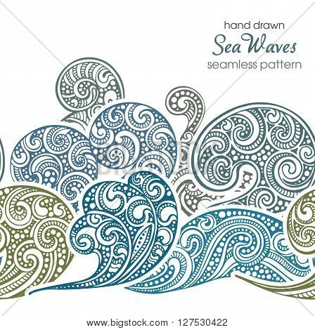 Seamless Border Pattern With Hand Drawn Doodle Sea Waves.