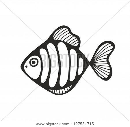 Hand drawn fish isolated on the white background. Vector illustration.