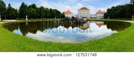 Picturesque nature landscape with Nymphenburg Palace, Munich