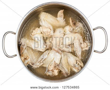 Stewpan With Boiled Chicken Wings Isolated