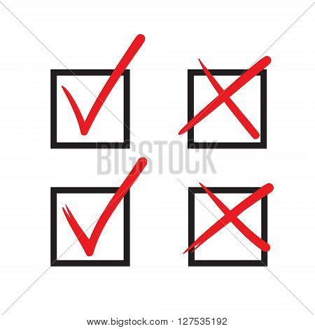 Check Mark Vector Hand Drawn Icon, Wrong Mark, Sketch Check Mark, Black On White