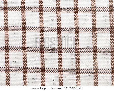 Textile Background - Brown Checkered Cotton Fabric