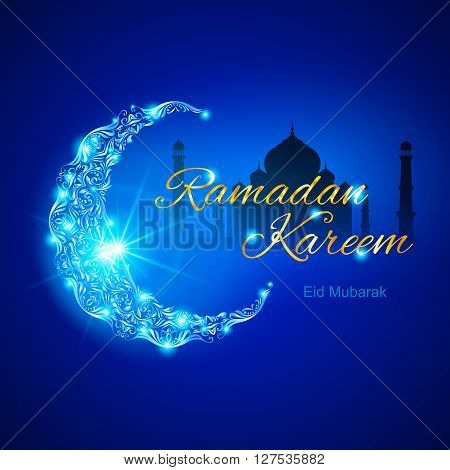 Glowing ornate crescent with mosque and bright flare. Illustration in blue shades. Greeting card of holy Muslim month Ramadan