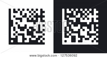 Datamatrix vector icon. Two-tone version on black and white background