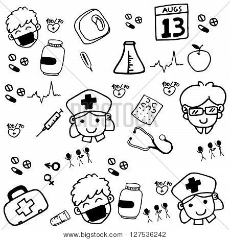 Medicine drawn doodle vector with black and white backgrounds