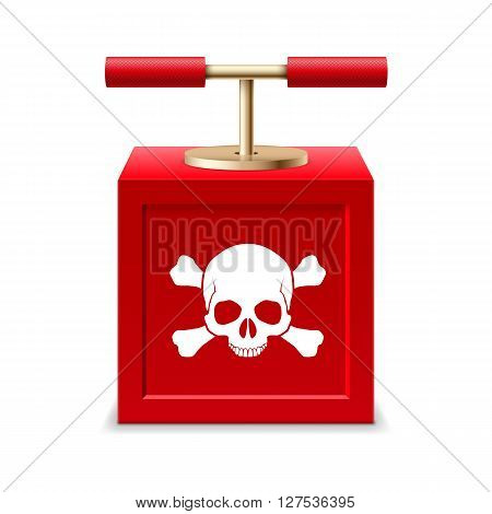 Red detonating fuse with a skull and crossbones