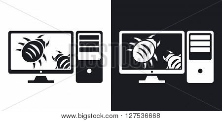 Workstation is infected by malware vector illustration. Two-tone version on black and white background