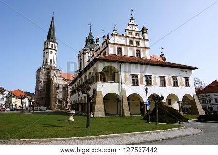 Levoca PRESOV SLOVAKIA - APRIL 03 2016: View on the old building and church in historical center of Levoca Slovakia.