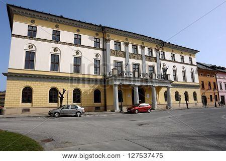 Levoca PRESOV SLOVAKIA - APRIL 03 2016: View on the Large Provincial House in Levoca Slovakia.