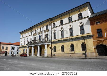 Levoca PRESOV SLOVAKIA -APRIL 03 2016: View on the Large Provincial House in Levoca Slovakia.