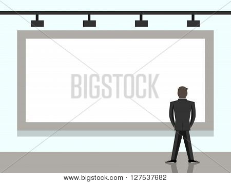 Businessman standing and looking at big blank billboard. Back view. Wall with screen or banner. Presentation marketing and advertising concept. EPS 8 vector illustration no transparency