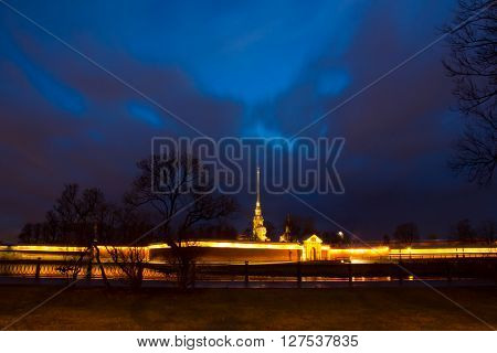 View of the Palace embankment from the Peter and Paul fortress in St. Petersburg