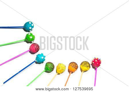 Tasty holiday sweets - cakepops on isolated background