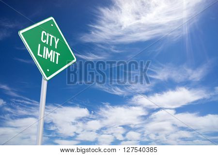 Green City Limit Road Sign Close Up