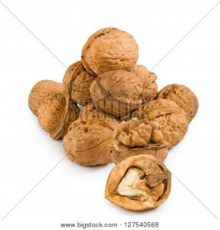 Isolated image of walnuts on a white background close up
