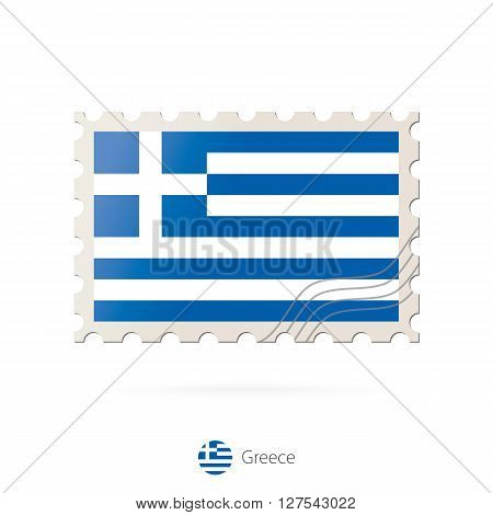 Postage Stamp With The Image Of Greece Flag.