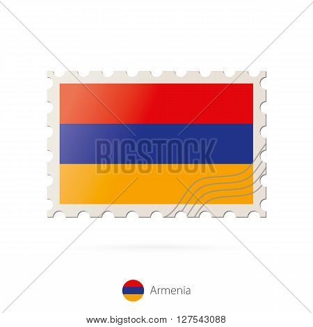 Postage Stamp With The Image Of Armenia Flag.