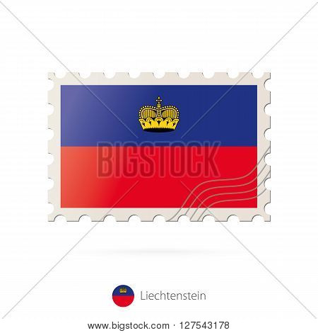 Postage Stamp With The Image Of Liechtenstein Flag.