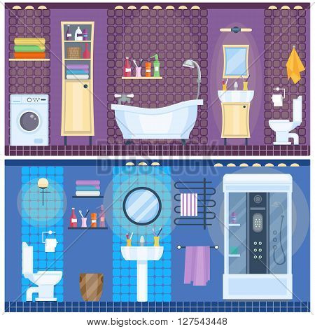 Set of modern bathroom interior in flat style. Bathroom design. Home interior. Bathtub and shower, toilet and cabinet, sink and mirror, lamps and towels. Vector illustration. poster