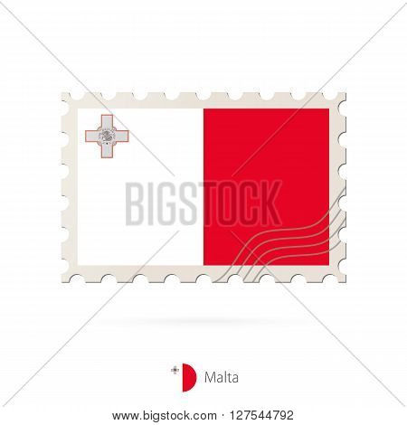 Postage Stamp With The Image Of Malta Flag.