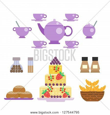 Tea set and sweets vector illustration in flat style. Tea ceremony. Utensils for serving festive, celebration table. Cups and pot, sweets and cake, cupcake and muffin. Sweets collection