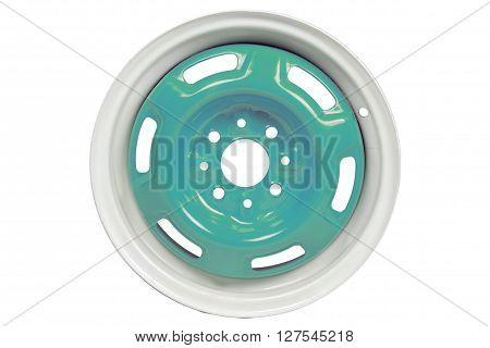 Powder coating of blue wheel disk on white background