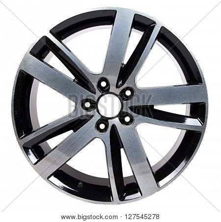 Powder coating of black wheel disk on white background