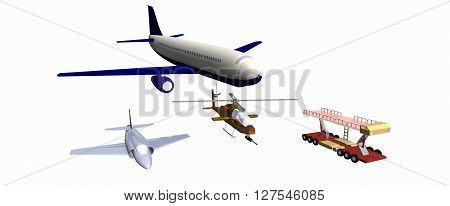 two combat aircraft, one combat helicopter, mechanical trail. low-poly 3D models. 737, A4E, mechanical trail, AH-1F cobra. 3D rendering, 3D illustration