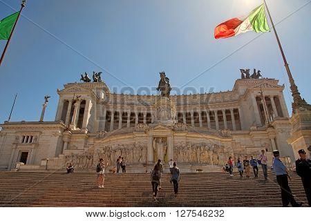 ROMA ITALY APRIL 11 2016 : Piazza Venezia and Monumento Nazionale a Vittorio Emanuele II or