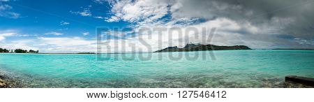 panorama of Bora Bora near airport French Polynesia
