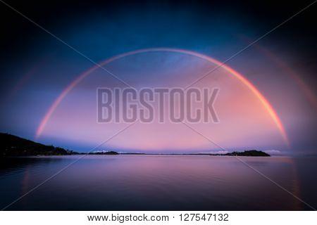 double rainbow at Overwater Bungalows Bora Bora French Polynesia
