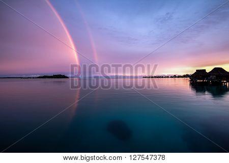 double rainbow HDR Bora Bora French Polynesia 2016