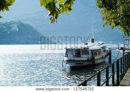 Lecco, Italy - September 1st 2015: Boat Dalia parked near Lecco Italy photographed on September 1st 2015.