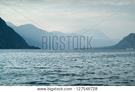 photo of Lake Como in Italy on a cloudy evening