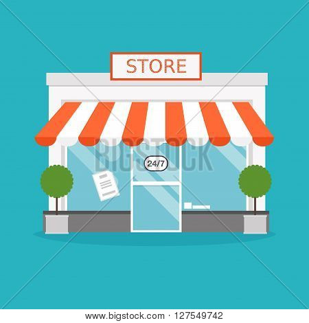 Store Facade. Vector Illustration Of Store Building. Ideal For Business Web Publications And Graphic