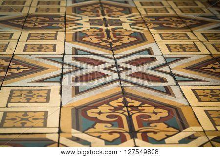 Varenna, Italy - September 4th 2015: closeup photo of beautifully decorated tiles at Villa Monastero in Varenna Italy.