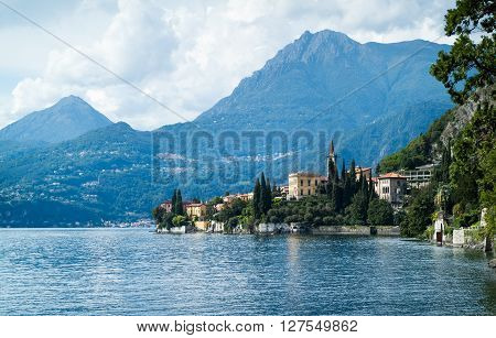 a picturesque view of Varenna (Lake Como) from Villa Monastero in Italy poster