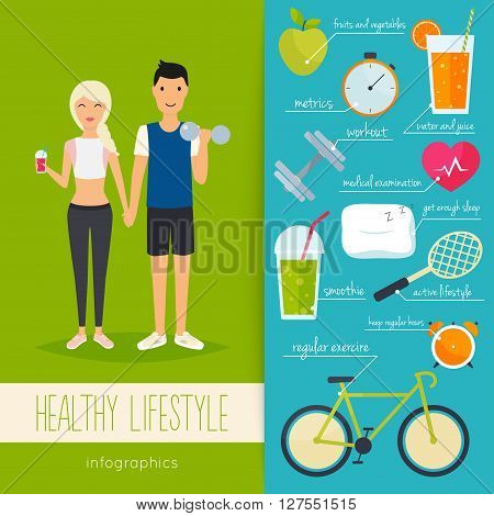 Concept of healthy lifestyle infographics. Young man and woman lead a healthy lifestyle. Icons for web: fitness healthy food and metrics. Flat design vector illustration.