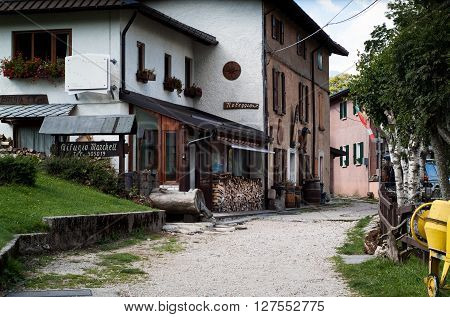 Piani d'Erna Italy - September 7th 2015: photo of a countryside hotel in Piani d'Erna (part of the Alps) near Lake Como in Italy